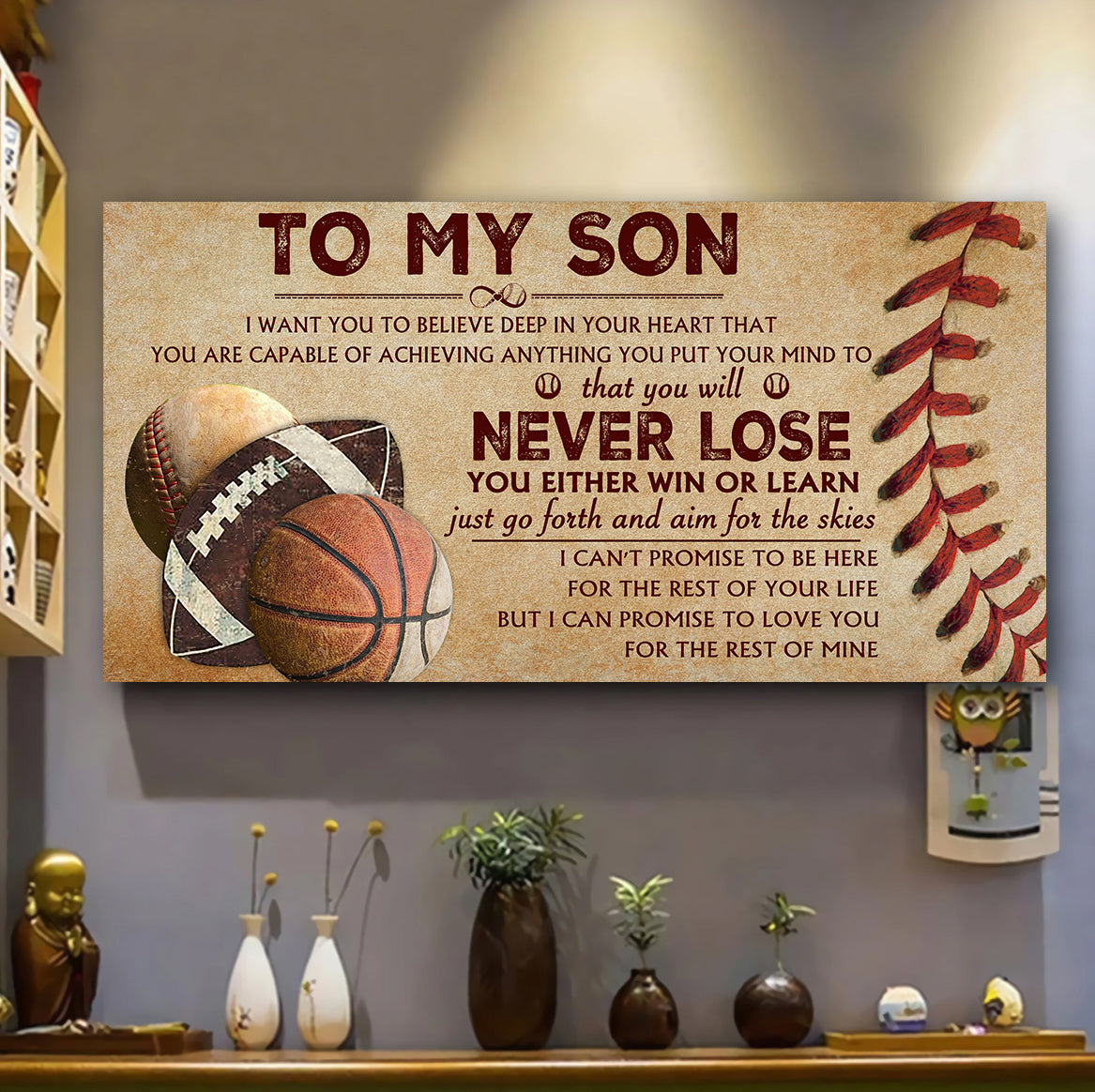 (LP383) Customizable Baseball - Basketball - Football Poster canvas - To my son - Never lose - FREE SHIPPING ON ORDERS OVER $75