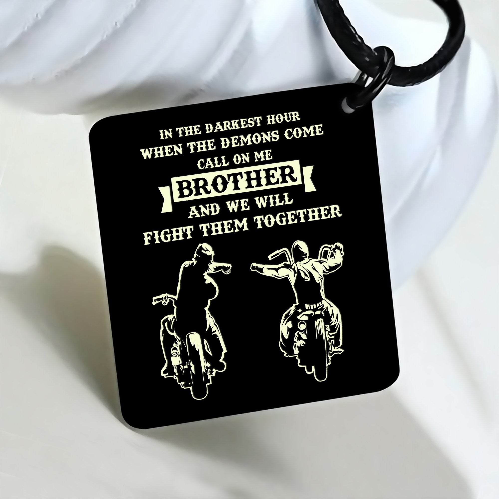 (LP38) BIKER BLACK ENGRAVED NECKLACE- CALL ON ME. FREE SHIPPING FROM 2 ITEMS