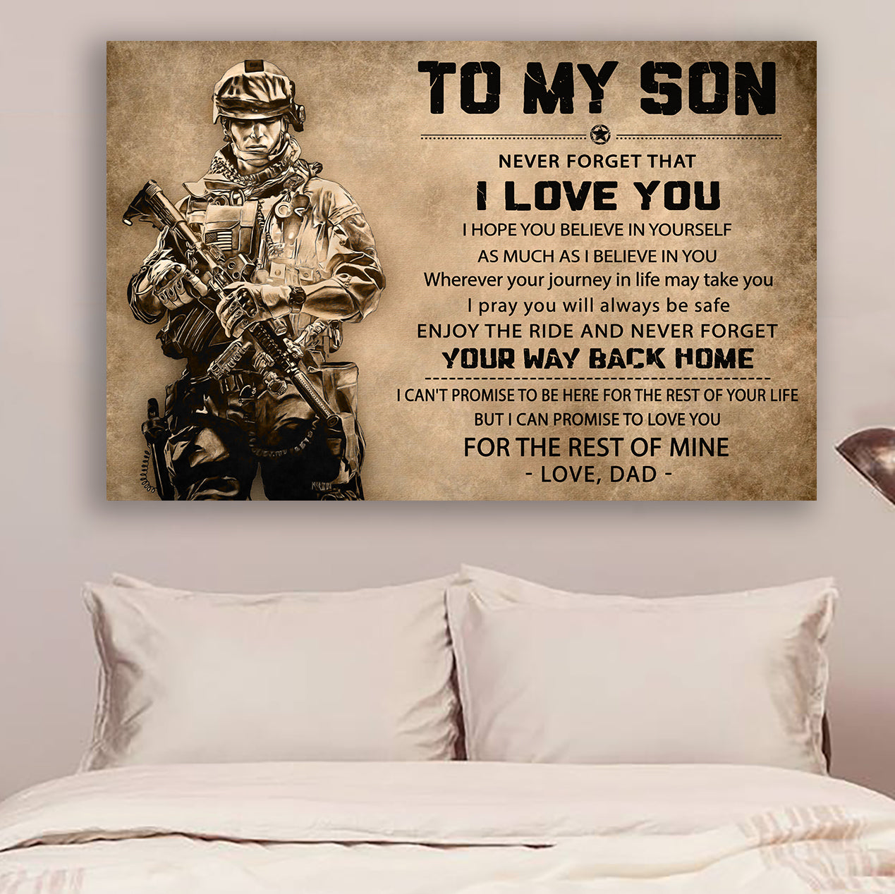 (LP60) Customizable Soldier poster  - Dad to son - I love you