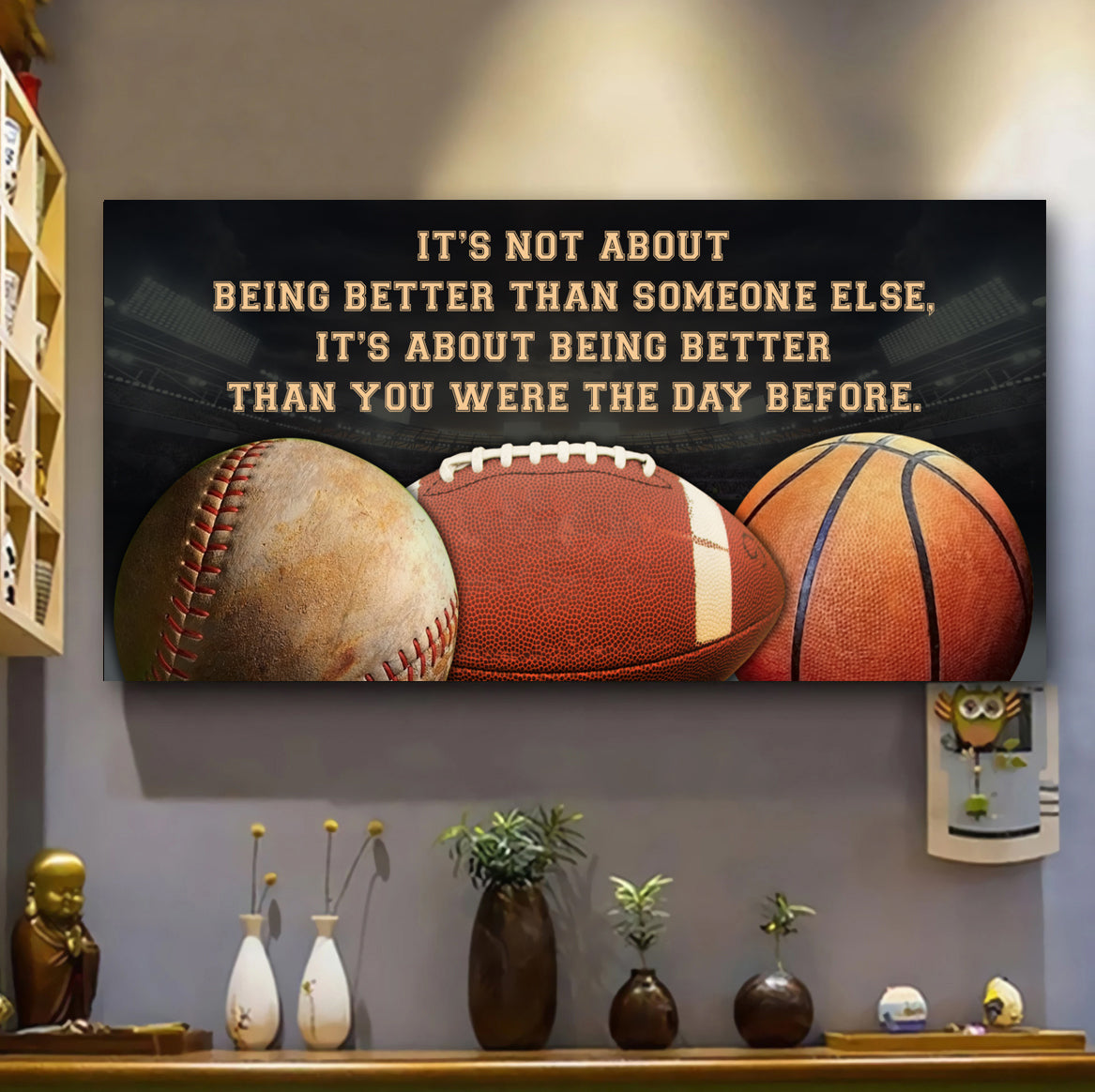 (QH664) Customizable Baseball, football, basketball Poster canvas - It's not about - FREE SHIPPING ON ORDERS OVER $75