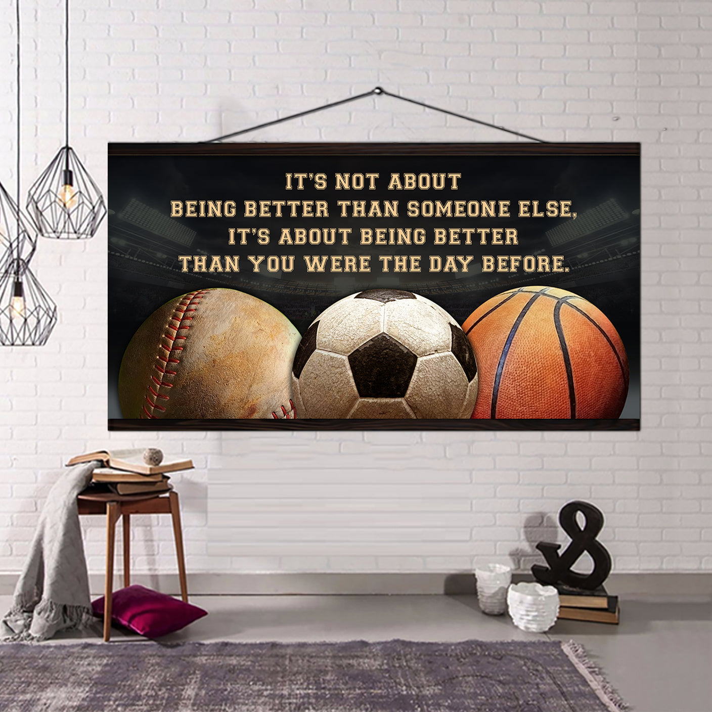 (QH665) Customizable basketball, baseball , soccer - Poster canvas - It's not about - FREE SHIPPING ON ORDERS OVER $75
