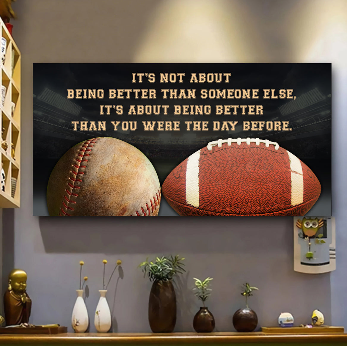 (QH666) Customizable baseball, football Poster canvas - It's not about - FREE SHIPPING ON ORDERS OVER $75