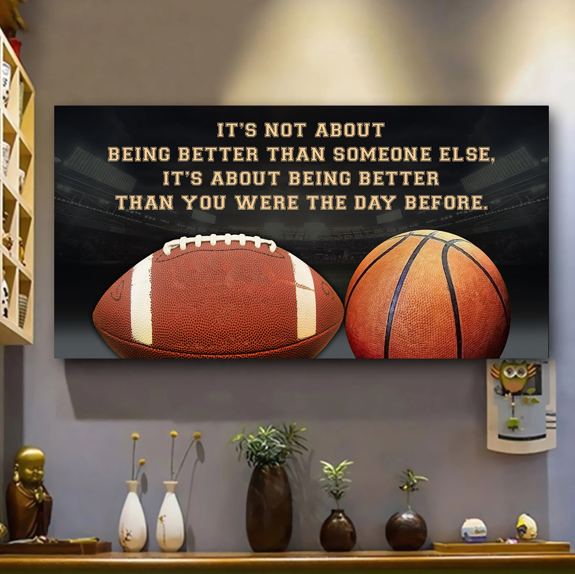 QH678) CUSTOMIZABLE FOOTBALL AND BASKETBALL POSTER, CANVAS- IT'S NOT ABOUT - FREE SHIPPING ON ORDERS OVER 75$