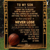 (QL5) LHD rectangle basketball quilt - Mom to Son - never lose