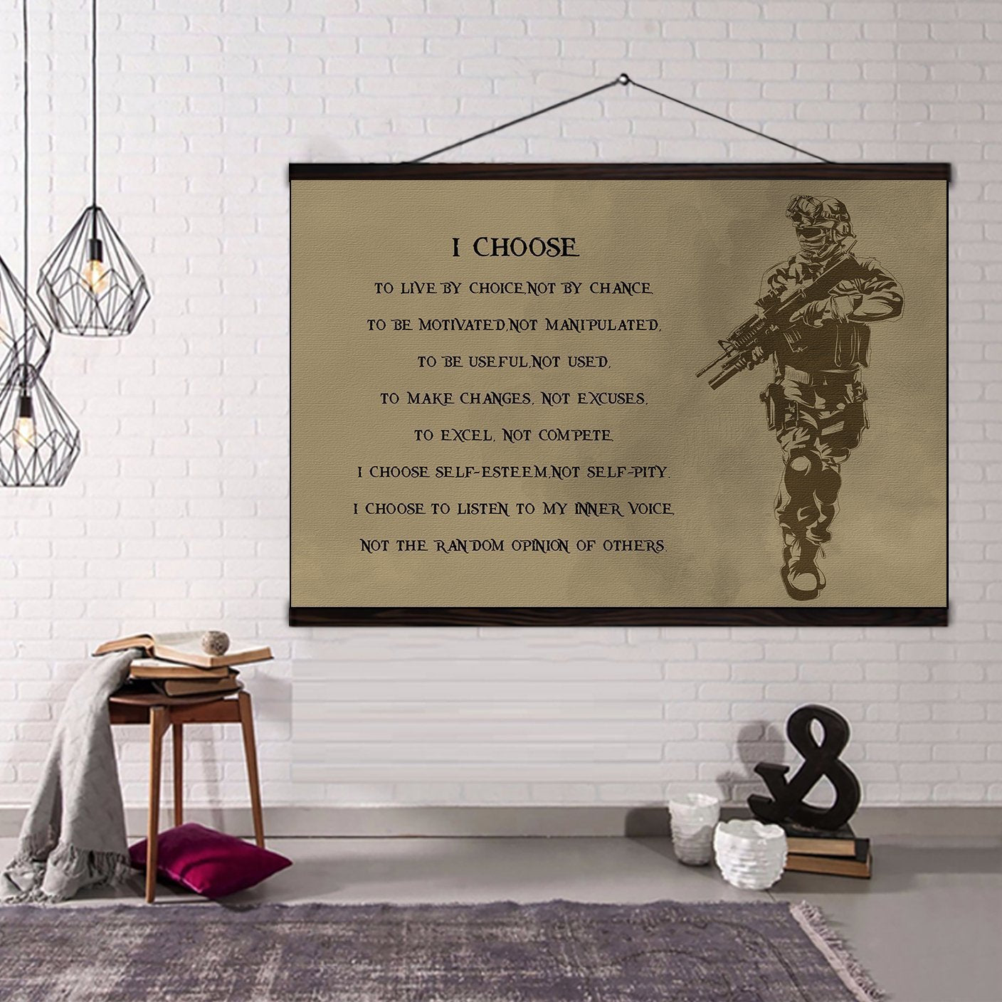 (CV207) soldier canvas with the wood frame - i choose