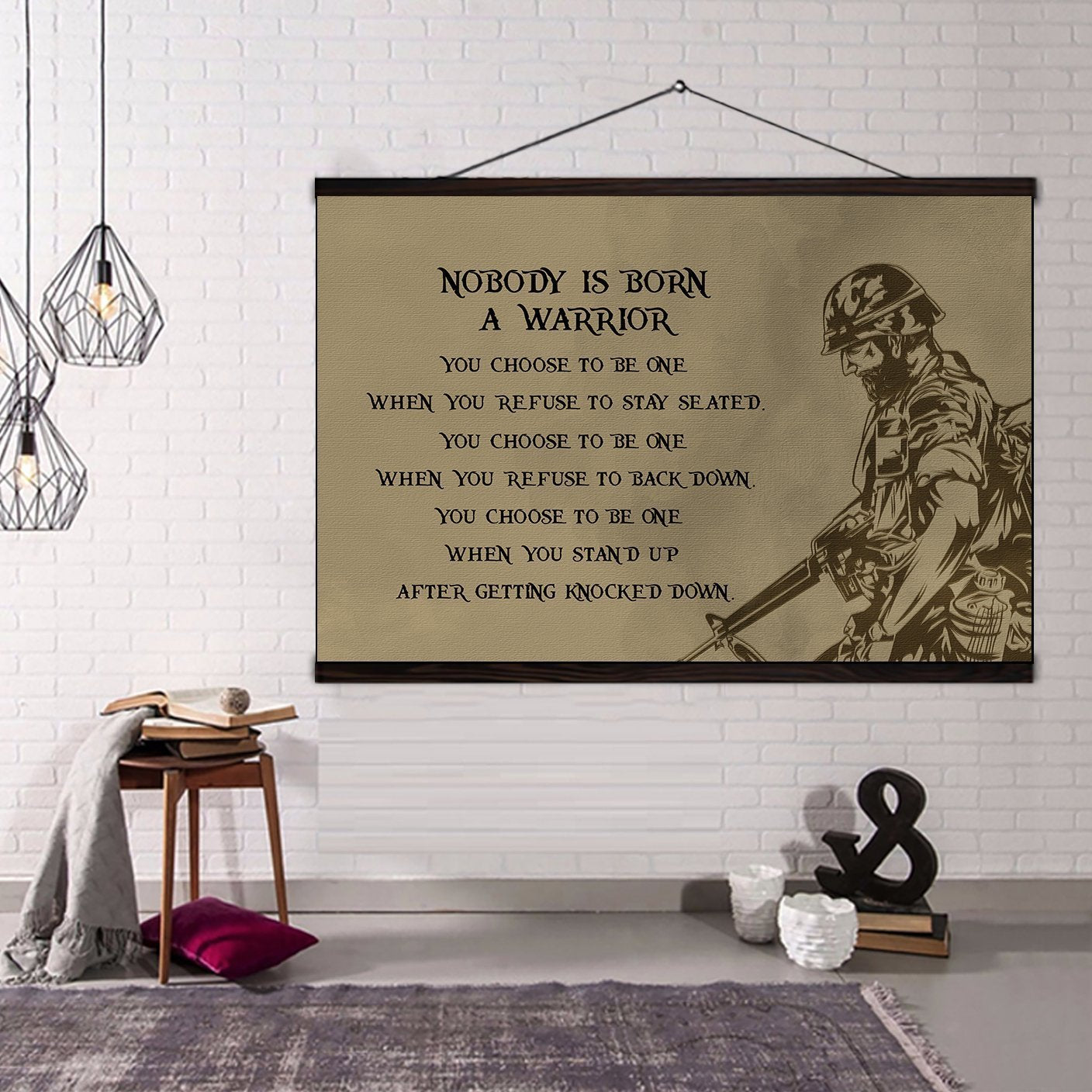 (CV208) soldier canvas with the wood frame - nobody is born a warrior