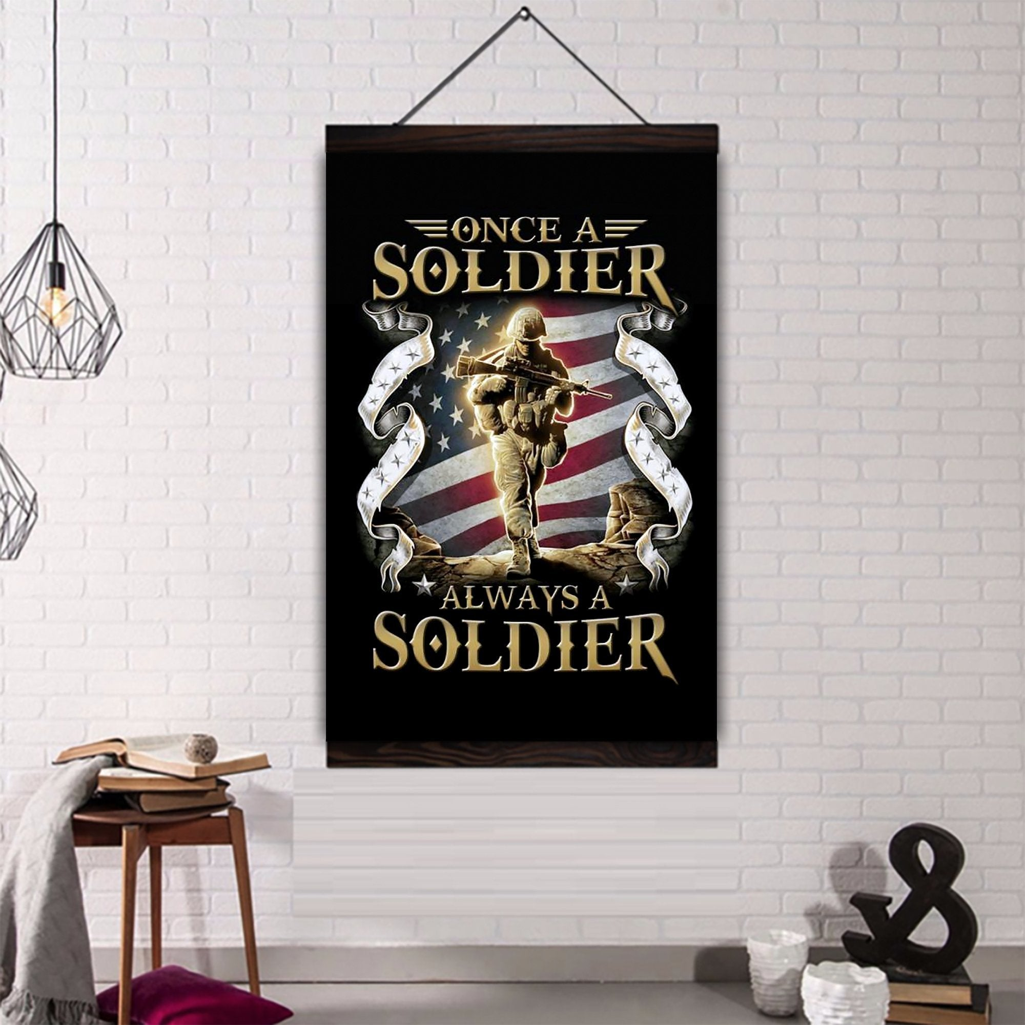(CV209) soldier canvas with the wood frame - once a soldier always a soldier