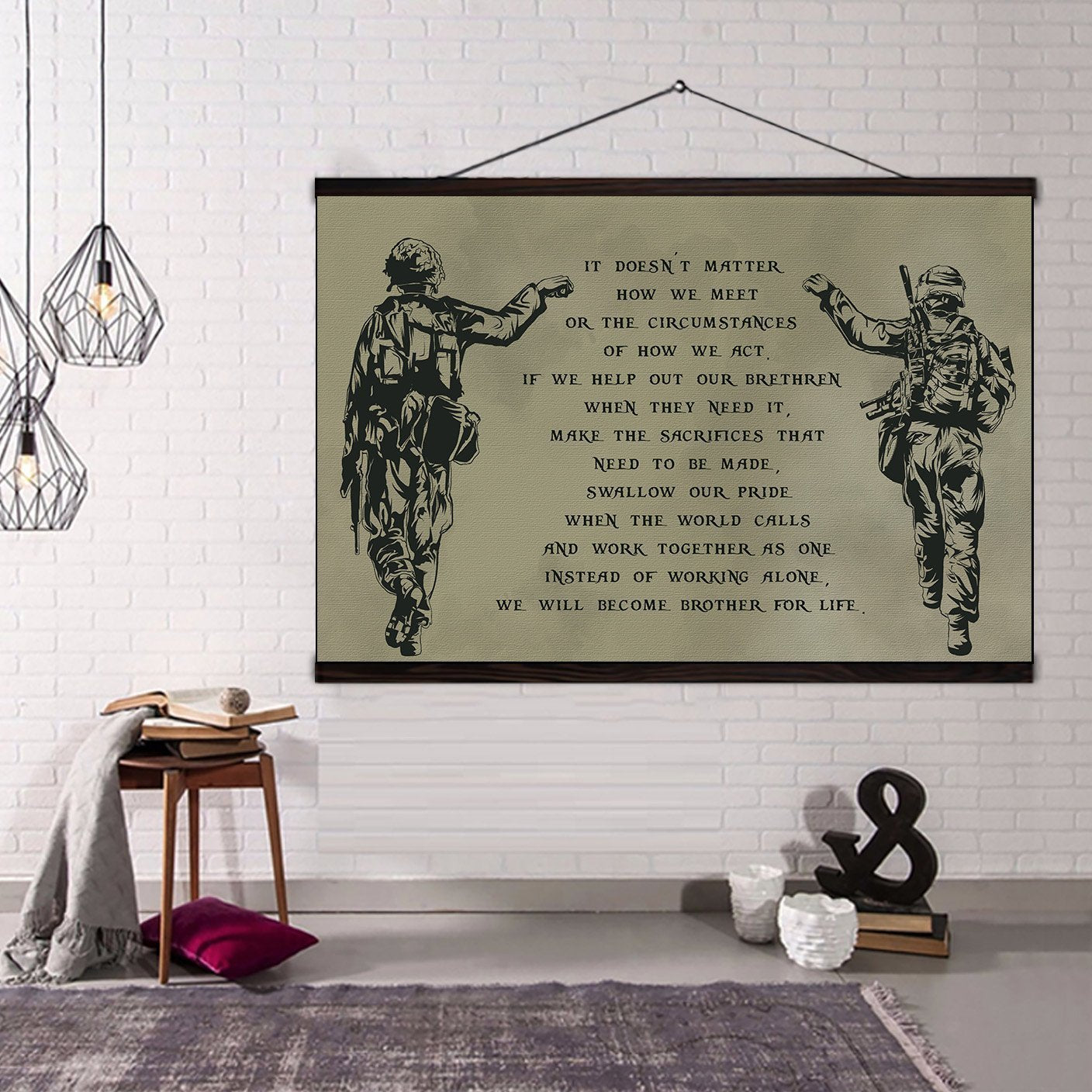 (CV211) soldier canvas with the wood frame - we will become brother for life