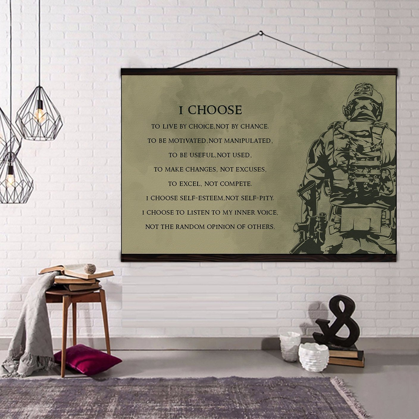 (CV212) soldier canvas with the wood frame - i choose
