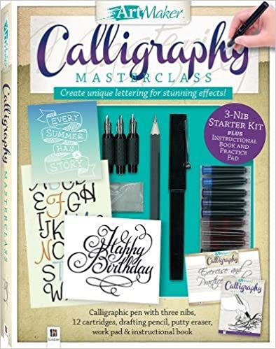 Art Maker Calligraphy Masterclass Kit-3 Nib Starter Kit plus Instructional Book and Practice Pad