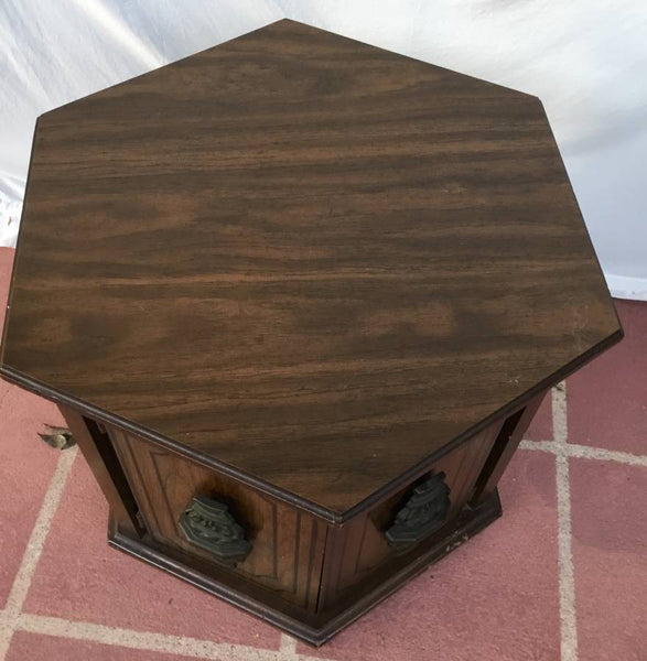 VINTAGE HEXAGONAL SHAPED WOODEN END TABLE WITH 2 DOORS