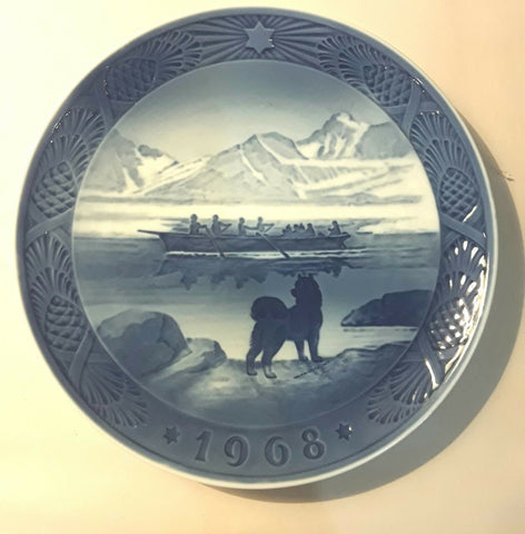 "1968 ROYAL COPENHAGEN CHRISTMAS PLATE THE LAST UMIAK 7"" DENMARK"