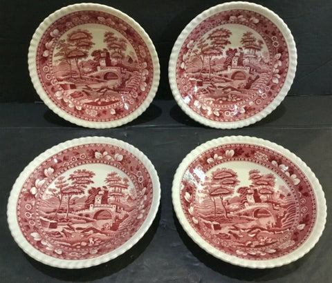 SET OF (4) VTG COPELAND SPODE TOWER PINK FRUIT DESSERT SAUCE BOWLS 5.5""