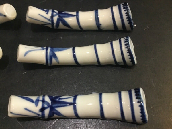 "SET OF (6) BLUE & WHITE PORCELAIN BAMBOO SHAPED SPOON RESTS 3"" LONG"