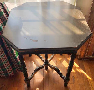 ANTIQUE DARK WOODEN HEXAGONAL SHAPED TABLE
