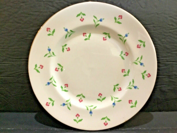 "SET OF (4) ROYAL VICTORIA FINE BONE CHINA ENGLAND 8.25"" PLATES WITH PINK & BLUE FLOWERS"
