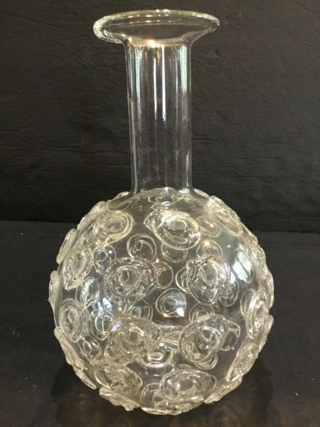 CLEAR ART GLASS VASE 8.5""
