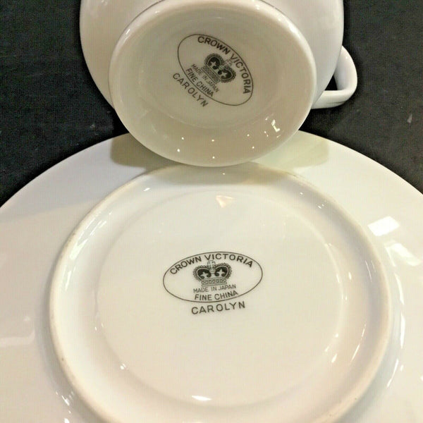 SET OF (4) CROWN VICTORIA CHINA CAROLYN FOOTED CUPS AND SAUCERS