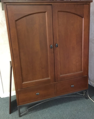 "WOODEN ENTERTAINMENT CABINET WITH METAL LEGS 46""x59""x24"""
