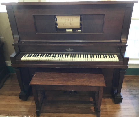 1923 H C Bay Co. Upright Walnut Player Piano (Serial #1594) w/ Bench