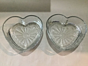 SET OF (2) HEART SHAPED CLEAR HEAVY GLASS CANDY DISHES BOWLS