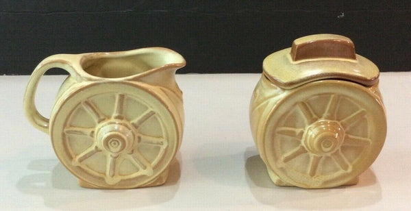 "2 PIECE FRANKOMA POTTERY 4"" DESERT GOLD WAGON WHEEL CREAMER AND SUGAR BOWL"