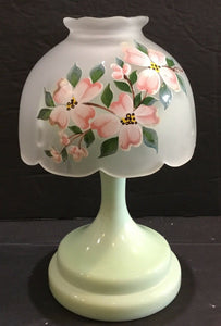 3-PIECE LIGHT GREEN GLASS PEDESTAL WITH FLORAL FROSTED GLASS SHADE VOTIVE HOLDER