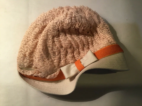 MISS RAE HAT WITH LACE AND ORANGE BAND UNION MADE 913710