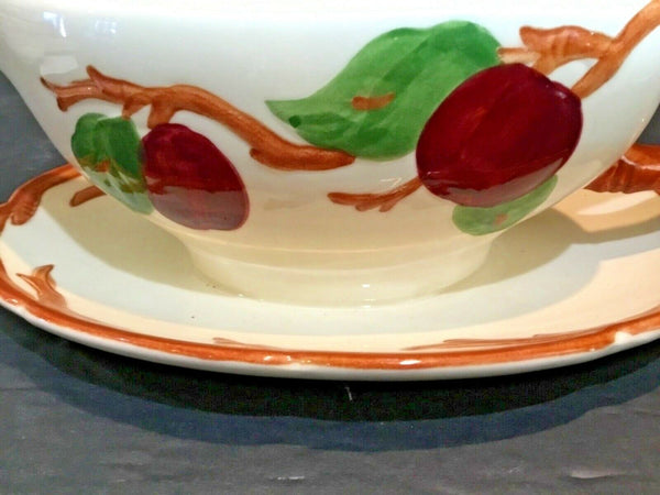 FRANCISCAN APPLE PATTERN GRAVY BOAT WITH ATTACHED UNDER PLATE USA