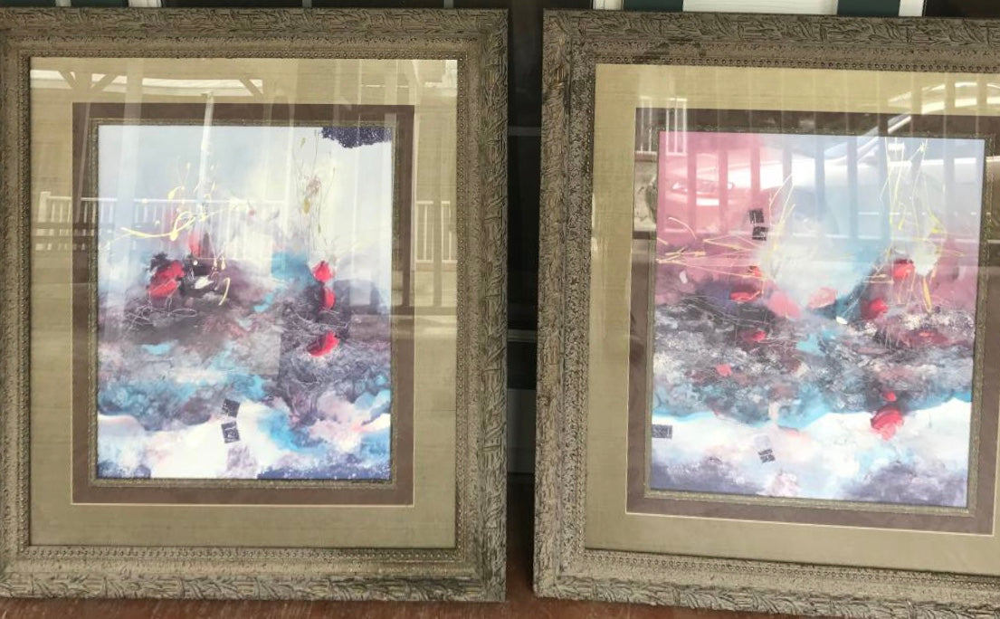 "SET OF (2) LARGE 39""x34"" FRAMED ABSTRACT PRINTS"