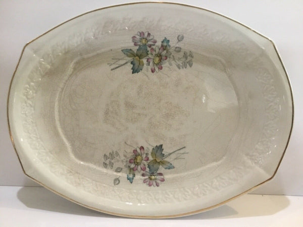 "T&R BOOTE IRONSTONE DAISY PATTERN OVAL 14"" SERVING PLATTER"