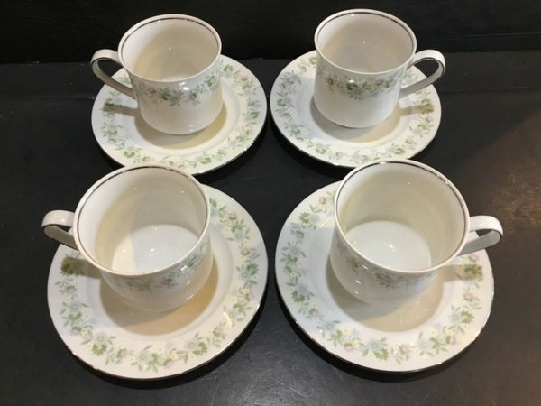 LOT OF (4) JOHANN HAVILAND BAVARIA GERMANY FOREVER SPRING CUPS & SAUCERS
