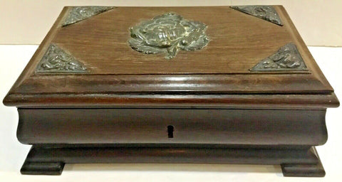 ANTIQUE BRAZILIAN JEWELRY BOX WITH HINGED LID, BLUE CRUSHED VELVET INTERIOR