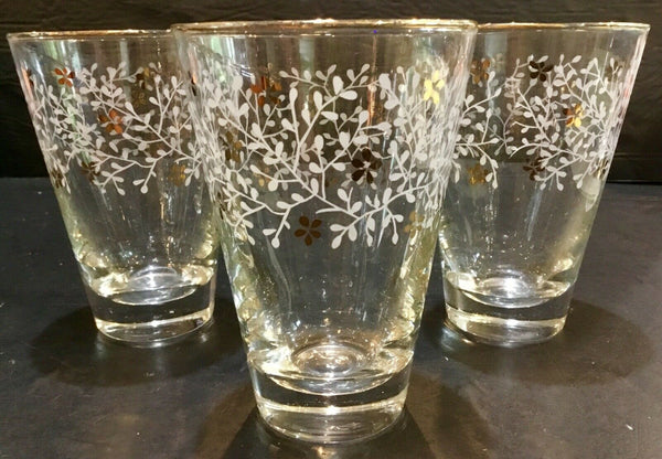"SET OF (3) FLORAL AND GOLD PATTERN 4.75"" JUICE GLASSES"