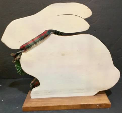 LARGE WOODEN DECORATIVE RABBIT BUNNY ON BASE
