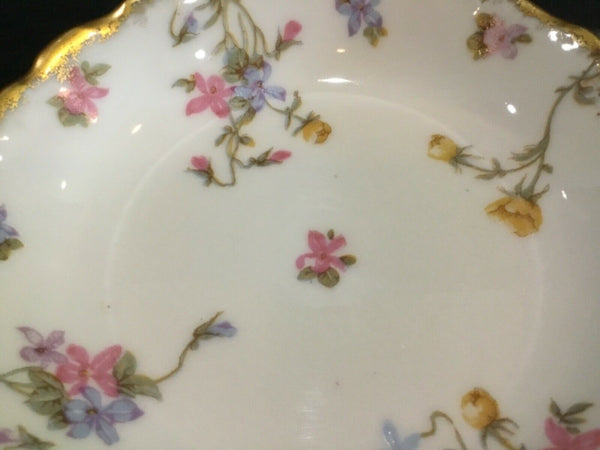 SET OF (4) BAWO & DOTTER LIMOGES ELITE WORKS BWD29 FLOWERS BERRY BOWLS