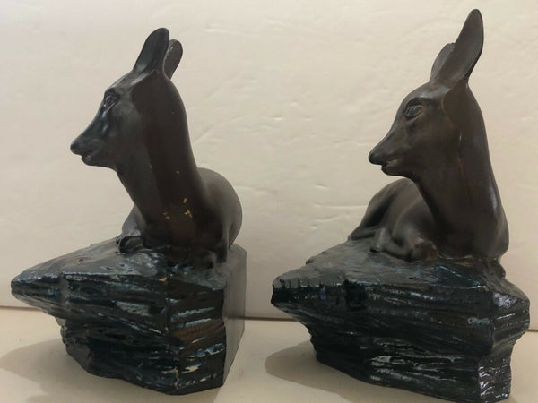 SET OF (2) CAST METAL DEER DOE ON ROCK LEDGE BOOK ENDS