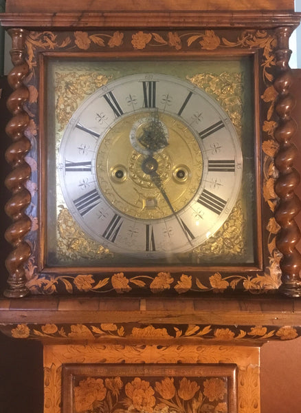 RARE ANTIQUE ENGLISH LONGCASE CLOCK W/ MONTH MOVEMENT BY ALEX IRVING. LONDON (CIRCA 1685-1695)