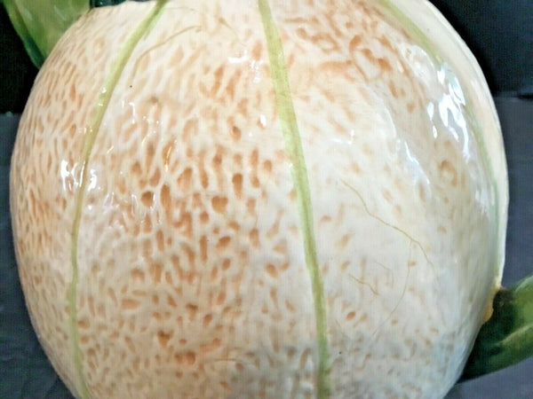 Cantaloupe Shaped Pottery Pitcher