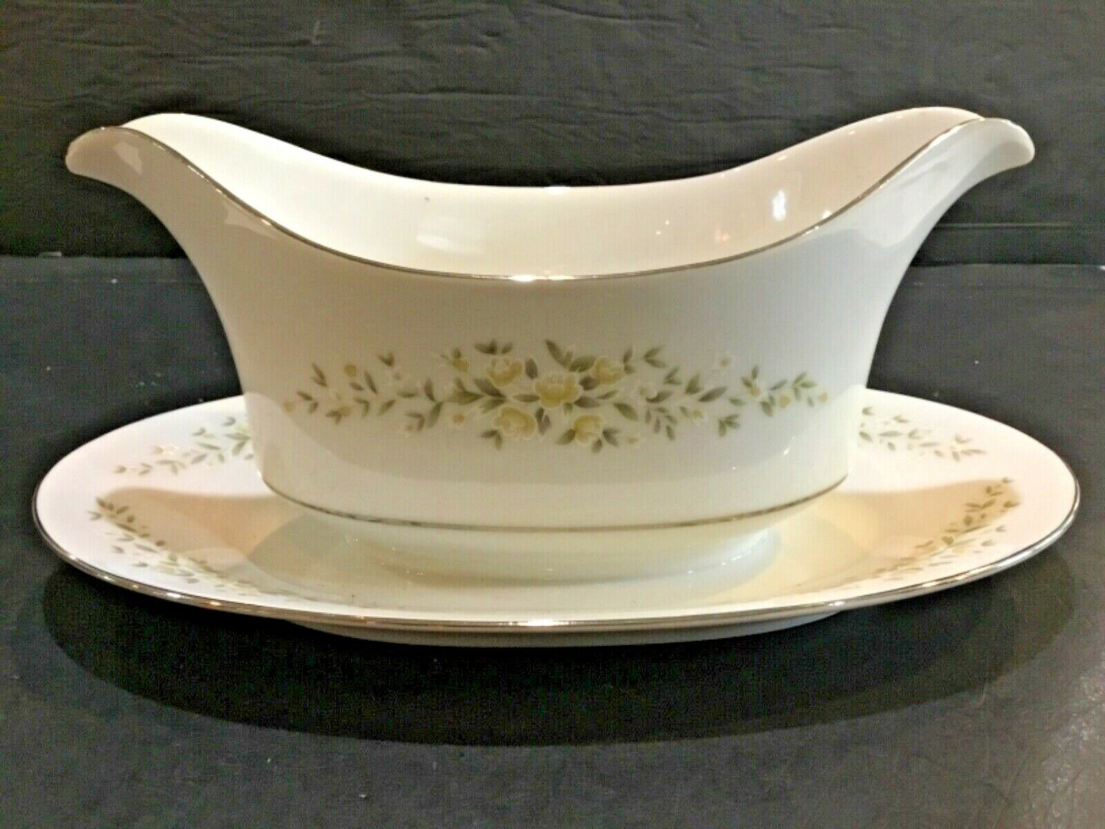 Crown Victoria China Carolyn Gravy Boat with Attached Underplate