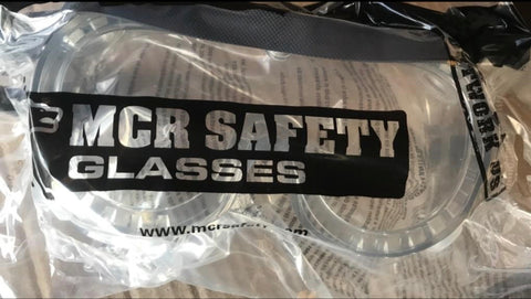 MCR CLEAR ADJUSTABLE WORK SAFETY GLASSES GOGGLES WIDE COVER (NIP)
