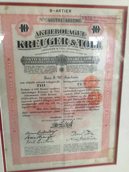 1928 Kreuger and Toll Certificate Stamp Debentuers