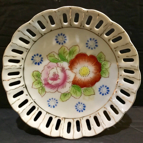 "HADSON CHINA 5"" RETICULATED PORCELAIN FLORAL PATTERN PLATE (OCCUPIED JAPAN)"