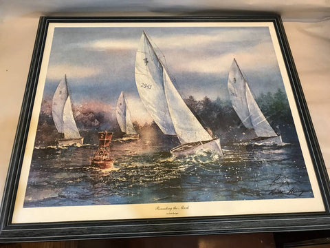 ROUNDING THE MARK BY RICK BURGER SIGNED PRINT FRAMED