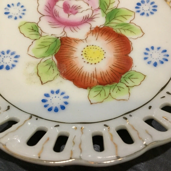 Hadson China Reticulated Porcelain Floral Pattern Plate (Occupied Japan)