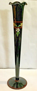 "BLACK GLASS VASE 10"" WITH HAND PAINTED FLOWERS"
