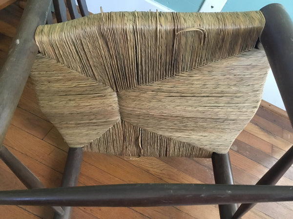 VINTAGE WOODEN LADDER BACK CHAIR WITH WOVEN SEAT