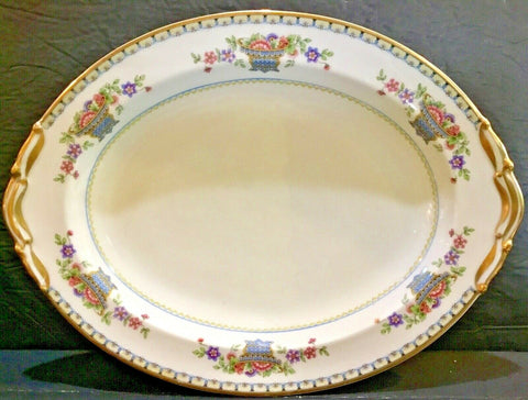 "VINTAGE B & CO. FRANCE BERNARDAUD LIMOGES FLEURETTE 13.5"" OVAL SERVING PLATTER"