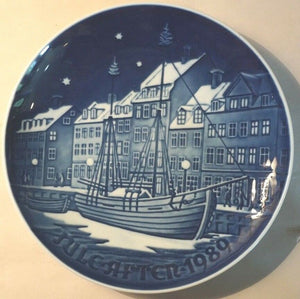 1989 BING & GRONDAHL B&G CHRISTMAS PLATE JUL AFTER CHRISTMAS ANCHORAGE