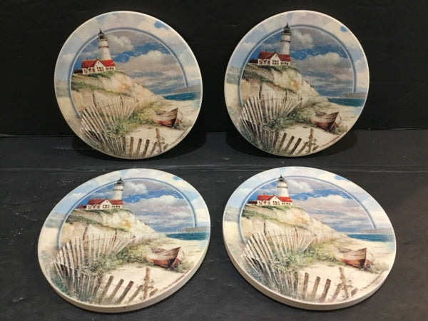 SET OF (4) LIGHTHOUSE SCENE STONE DRINK COASTERS BY THE ART PUBLISHING GROUP